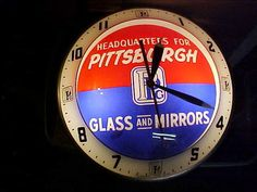 1950s PITTSBURGH PLATE GLASS ADVERTISING CLOCK