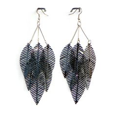 "Layered Leaf Earrings.  Approx. 4"" in length."