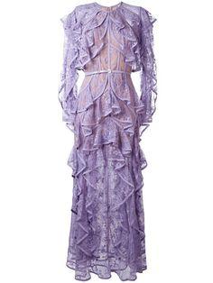 Shop Elie Saab ruffled lace dress.