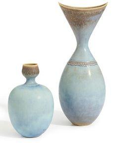 Stig Lindberg; Glazed Stoneware Vases for Gustavsberg, c1955.