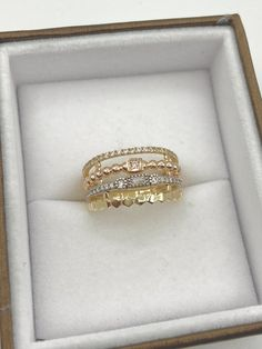 Jonc en or 3 tons et cubiques zirconiums Or Rose, Wedding Rings, Engagement Rings, Jewelry, Bangle Bracelet, Ring, Enagement Rings, Jewlery, Jewerly
