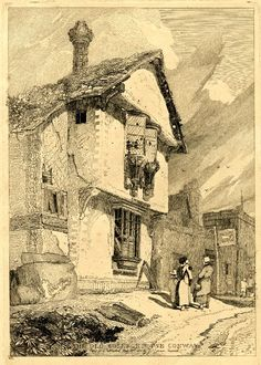 1811 Etching/ The Old College House Conway/ John Sell Cotman Illustration Sketches, Art Sketches, Old Book Art, College House, Tinta China, Art Watch, Medieval Life, Fantasy Castle, Nature Drawing