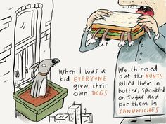 Buy 'The Runt Sandwich' by Ellis Nadler as a Greeting Card. New uses for unwanted dogs Sandwiches, Comics, Kids, Notes, Young Children, Boys, Report Cards, Children, Comic Book