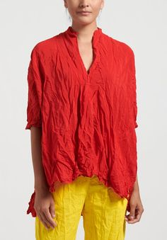 Daniela Gregis Washed Silk Honey Kora Top in Red | Santa Fe Dry Goods . Workshop . Wild Life Cotton Shirt Dress, Ruffle Blouse, Size 14 Models, Bubble Drawing, Santa Fe Dry Goods, White And Blue Flowers, Floral Pants, Long Jackets, Silk Fabric