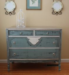 A thrift store dresser missing legs can be transformed into a vintage beauty with chalk paint (and new legs)!