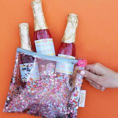 Broughtcha some bubbly for lunch with our Yay You package's new goodies! Yep those are champagne bubble bath bottlesKinda amazing huh?! OH and Everything Pouches in multi have been restocked too so hurry and get to gifting bebs.