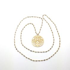 Fools Gold is a Necklace with an 18k over Bronze Filigree Pendant on a 36″ long Chain of Gold-Fill and Pyrite (Fools Gold) with a Sterling Silver Chain Extender Provided for Choices in How to Wear. This Necklace is Designed so You can Wear it Long, or you can Double up the Chain and Showcase the Pendant at Your Neckline as shown in the Photos.