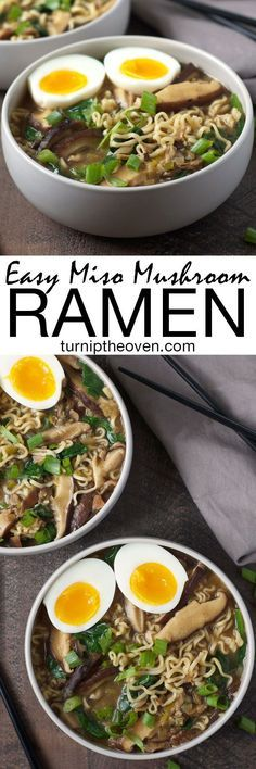 This easy and healthy miso mushroom ramen is vegetarian (with a vegan option). You can make it in under an hour using only 10 supermarket-friendly ingredients!