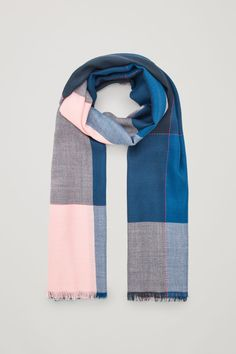 Front image of Cos interwoven checked wool scarf in blue Navy Pink, Blue, End Of Season Sale, Pink Hat, Wool Scarf, Wool Blend, Cashmere, Scarves, Gloves