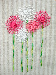 New Ideas Embroidery Designs Simple French Knots Embroidery Needles, Embroidery Applique, Beaded Embroidery, Cross Stitch Embroidery, Embroidery Patterns, Machine Embroidery, Flower Embroidery, Japanese Embroidery, Art Patterns