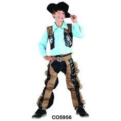 Kids Childrens Western Cowboy Costume W/ Hat Fancy Dress Up Party