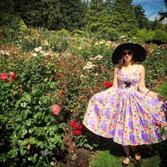 """""""City of Roses indeed! Took my Mary Blair lips and roses dress out for a spin yesterday in the International Rose Test Garden in Portland. Notice that pink…"""""""