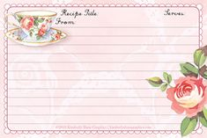 recipe cards to print Recipe Paper, Printable Recipe Cards, Recipe Binders, Tea Art, Wedding Art, Planner, Note Paper, Scrapbook Paper, Scrapbooking