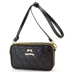Sanrio Hello Kitty Leather Shoulder Cross Body Bag Black Clutch Purse GKHK020