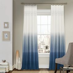 Frame your window in elegant style with the Vue Signature Arashi Fashion Window Drapery Panel . This curtain features a chic ombre style with relaxed. Window Drapes, Drapes Curtains, Window Coverings, Window Panels, Blue Curtains Living Room, Pattern Curtains, Coastal Curtains, Modern Curtains, Bay Window