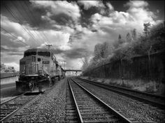 Train with Clouds Infrared, Old Town, Tacoma, Washington by Don Briggs, via Flickr