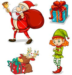 Four christmas symbols vector - by iimages on VectorStock®