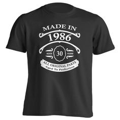 30th Birthday Gift T-Shirt - Born In 1986 - Vintage Aged 30 Years To Perfection - Short Sleeve - Mens - Black - X-Large T Shirt - (2016 Version)