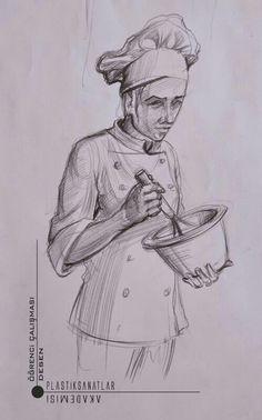 Aşçı imgesel cizimi gsf hazırlık.