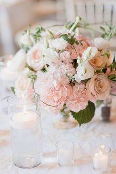Romantische Blush Floral Hochzeit Herzstück Ideen