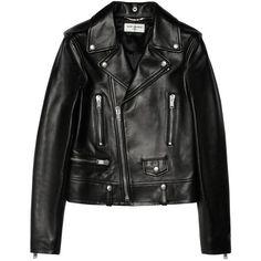 Leather biker jacket Saint Laurent (13.035 BRL) ❤ liked on Polyvore featuring outerwear, jackets, coats, tops, yves saint laurent, genuine leather biker jacket, leather moto jacket, real leather jackets and leather biker jacket