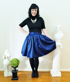 Navy Satin Anne Skirt full gathered skirt classic by SandeeRoyalty
