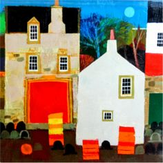 George Birrell Amazing Artwork, Cool Artwork, House Illustration, Illustrations, Tulips In Vase, Sketch Painting, House Art, Naive Art, Built Environment