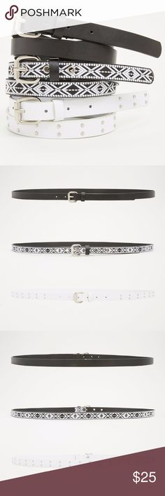 """30% off Bundles        Torrid Geo Studded Belt Set This belt set of three literally has a belt for every occasion. Need simple sophistication? Rock the solid black faux leather style. Wanna rock out? Snap on the studded white faux leather design. Feeling like a free spirit? Sport the black and white geo print style. Set of 30.75"""" wide torrid Accessories Belts"""