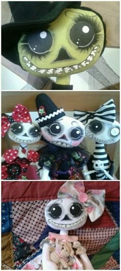 Selection of skeleton dolls by Crow House Dolls /etsy shop