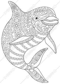Adult Coloring Page Dolphin Zentangle Doodle Pages