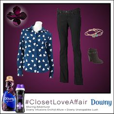 This Alluring Adventurer look was inspired by Downy Infusions Orchid Allure and Downy Unstopables Lush. This bold blouse will make sure you're always wearing your heart on your sleeve. To shop this look, visit the LC Lauren Conrad collection available only at Kohl's. To register for the #ClosetLoveAffair sweepstakes visit https://downy.promo.eprize.com/pinterest/.