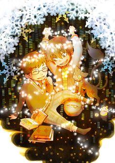 Tags: Anime, Ao no Exorcist, Okumura Rin, Okumura Yukio, Kuro (Ao No Exorcist), Pixiv Id 3196679