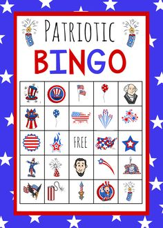 Print these of July Bingo game cards for a perfect patriotic activity to help you celebrate the big day! Fun patriotic images, famous Americans and holiday fun all on a free printable game card. Fourth Of July Crafts For Kids, 4th Of July Games, Fourth Of July Cakes, 4th Of July Celebration, 4th Of July Party, July 4th, Patriotic Images, Patriotic Crafts, Independence Day Game