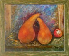 Adam and Eve #stil_llife with #pears and apple Originai oil #Painting in handmade by Artworkshop1 on Etsy