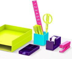 Colorful Poppin Desk accessories available now at UrbanGirl! http://www.urbangirl.com/Categories/Designer-Collections/Shop-By-Designer/Poppin.aspx