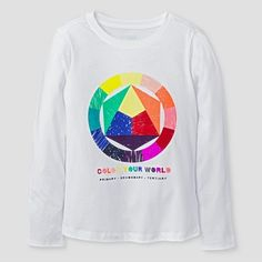 Girls' Long Sleeve Color Wheel Graphic T-Shirt Cat & Jack™ - White : Target