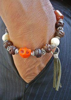 Men's Rocker Bracelet with Semi Precious Terracotta by tocijewelry