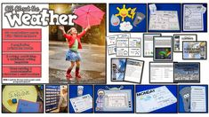 The First Grade Parade: All About the Weather - Ideas & Freebies! Weather Vocabulary, Weather Science, Weather Unit, Weather Activities, Anchor Activities, Teaching Activities, Teaching Science, Fun Learning, Teaching Ideas