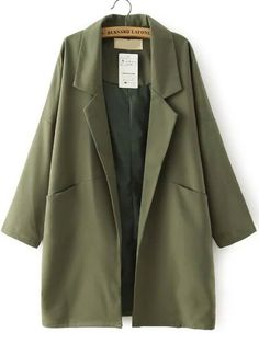 Shop Army Green Lapel Pockets Loose Trench Coat at victoriaswing, personal womens clothing online store! high quality, cheap and big discount, latest fashional style!