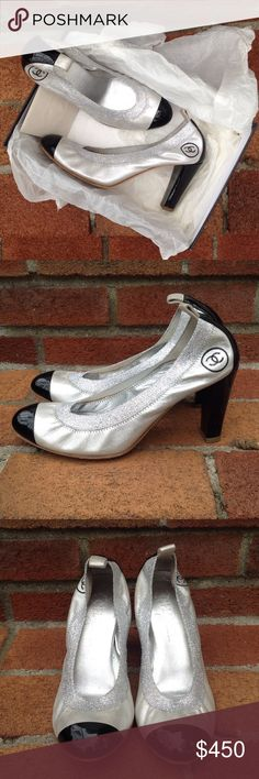 Chanel Spirit Pump in Silver Chanel stretch spirit pump in silver leather with black patent cap toe. Size 38. Gently used. CHANEL Shoes Heels