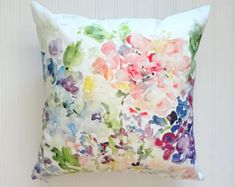 Hydrangea Mix Watercolor Floral Pillow Cover, Designer Fabric Pillow Cover