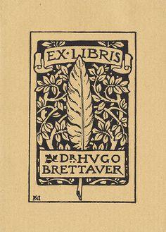 - Bookplate of Dr. Hugo Brettaver
