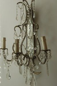 Wall Chandelier Beaded Vintage Antique Italian Pair Big Sconces | eBay