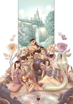 """My latest illustration work, """"Genius-Billionaire-Fairy Tale Playboy-Philanthropist Prince."""" [[MORE]]This piece was my take on Marvel/Disney mashup fan art concept featuring Tony Stark and some of. Walt Disney, Disney Amor, Disney Deals, Disney Love, Disney Magic, Tony Stark, Ms Marvel, Disney Marvel, Disney And Dreamworks"""