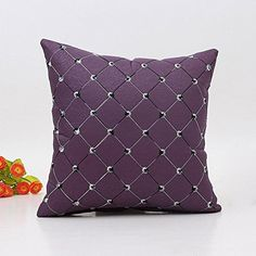 AIMTOPPY Plaids Throw Pillow Case Square Cushion Cover Home Sofa Bed Decor (Purple)