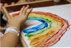Finger painting a rainbow :)