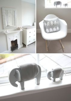 Rustic Elephant Nursery  Modern elements and soft colors of grey, beige and cream.  @pretty things Little Baby Blog #grey #nursery #elephant