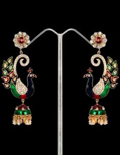 #Earrings & #Jhumkas - Gold Micron Plated Peacock Design Earrings Costs Rs. 3,500. #Jewellery. BUY it here: http://www.artisangilt.com/jewellery/earrings/gold-micron-plated-peacock-design-earrings.html?ref=pin