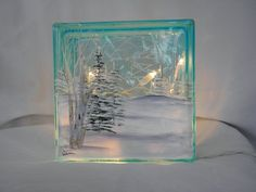 Glass Block - Winter Scene - Etched Glass - Cut Vinyl - Silhouette Cameo - Lake - Trees