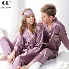 d980d5b02d CherLemon Classic Silk Satin Pajama Set Couple Button Up Long Sleeve  Sleepwear Autumn Solid Loungewear Set